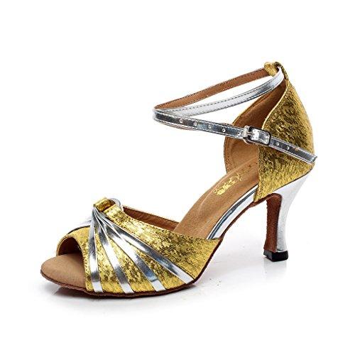 di Moderno Samba Onecolor Ballo Scarpe Donna da Flash Dimensioni Altezza da Cinturino Sandali Latino BYLE Cuoio alla Jazz 75cm Ballo Scarpe Caviglia 5x8Aw1YBq