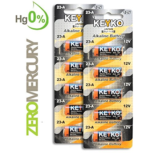A23 Battery 12V Alkaline Genuine KEYKO ® KT-23A Type: A23s / MN21 / Gp23ae 10-Pcs-Pack for Garage Doors Opener Keyless Entry Doorbells and Alarm Remote