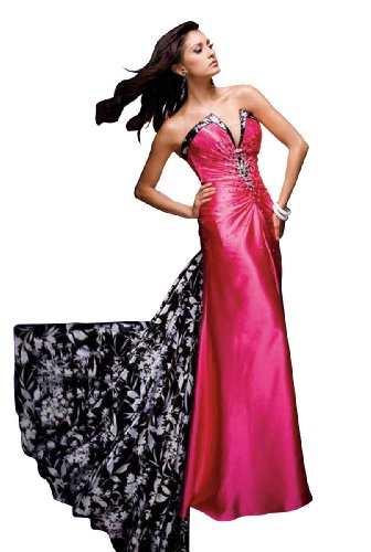Tony Bowls Strapless Long Gown 110716, Fuchsia, 8