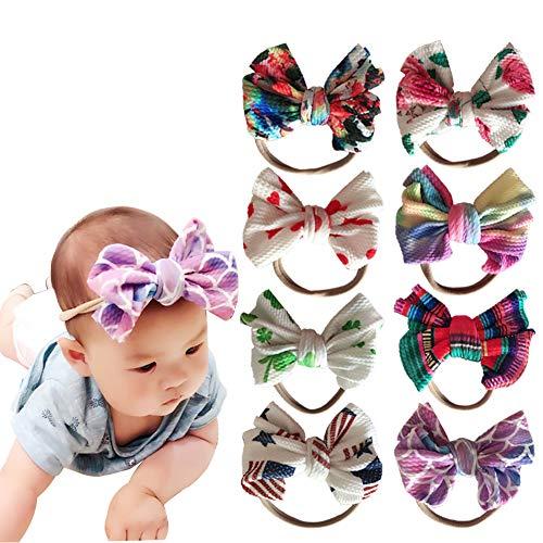 Baby Girls Nylon Elastic Headbands Soft Flower Leather Bow Hair Band for Newborn Infant Toddler kids Set of 10 (Multicolor-Baby headbands J)