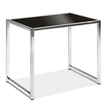 Black Glass End Table Black Glass/Chrome Base