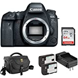 Canon EOS 6D Mark II DSLR Camera (Body Only) with Ruggard DSLR Shoulder Bag, LP-E6 Lithium-Ion Battery Pack Kit and 64GB Memory Card