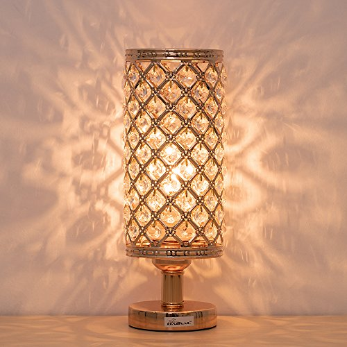 (HAITRAL Gold Crystal Table Lamps - Vintage Nightstand Desk Lamp with Clear Crystal Beads Lampshade Metal Base Stylish Decorative Lamps for Bedroom, Living Room, Dresser, Ideal Gifts (HT-BD017G))