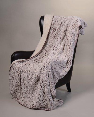 [Regal Comfort Sherpa Luxury Throw Rose Print (Gray, 50