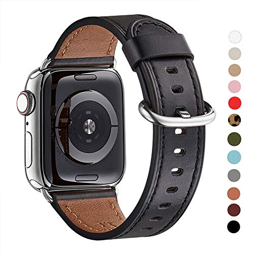 WFEAGL Compatible iWatch Band 38mm 40mm 42mm 44mm, Top Grain Leather Bands of Many Colors for iWatch Series 5,Series 4,Series 3,Series 2,Series 1 (Black Band+Silver Adapter, 42mm 44mm)