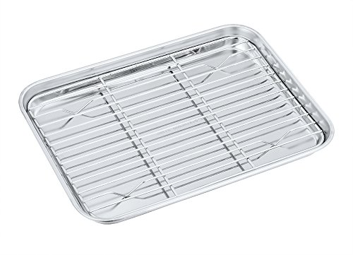 Toaster Oven Pan with Rack Set, P&P CHEF Stainless Steel Broiler Pan with Cooling Rack, Mini Rectangle 9''x 7''x1'', Non Toxic & Heavy Duty, Mirror Finish & Dishwasher Safe 0.5' Volume Control Rough