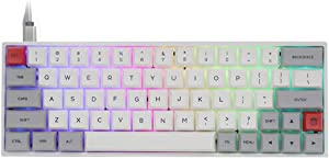 EPOMAKER SK64 64 Keys Hot Swappable Mechanical Keyboard with RGB Backlit, PBT Keycaps, Arrow Keys, IP6X Dustproof Waterproof for Win/Mac/Gaming (Gateron Optical Red, Grey White)