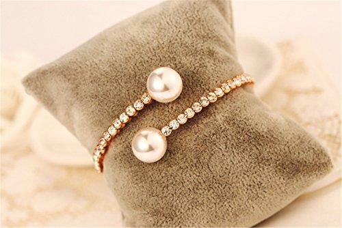P.phoebus 18K Yellow Gold Vintage Swarovski Crystal White Pearl Rhinestones Dangle Charm Bracelet For Women Girls (4)