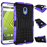 MOONCASE Moto X Play Case Detachable 2 in 1 Hybrid Armor Design Shockproof Tough Rugged Dual-Layer Case Cover with Built-in Kickstand for Motorola Moto X Play Purple