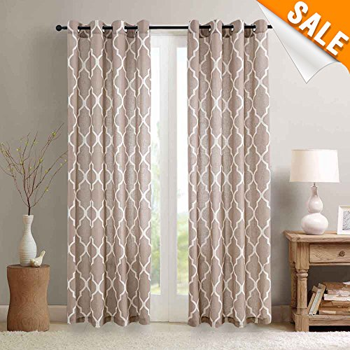 (Window Curtains for Living Room 95 inch Length Moroccan Tile Pattern Lattice Printed Curtain Panels Flax Linen Blend Textured Window Curtains for Bedroom Taupe on Flax, 2 Panels Eyelet Type)
