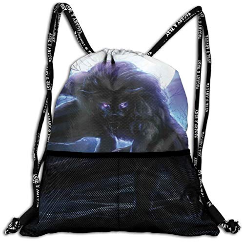 Drawstring Backpacks Bags,Surreal Werewolf With Electric Eyes In Full Moon Transformation Folkloric,5 Liter Capacity,Adjustable