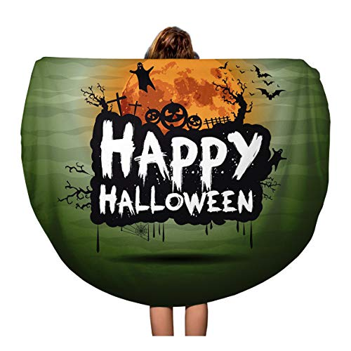 Pinbeam Beach Towel Happy Halloween Night Sign Text Flying Moon Party Travel 60 inches Beach Blanket ()