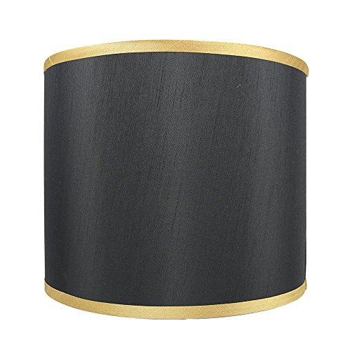 Urbanest Black with Gold Trim Faux Silk Classic Drum Lampshade, 12-inch by 12-inch by 10-inch - Gold Cone Trim