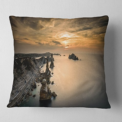Designart CU7432-18-18 Liencres Rocks on Coast in Spain' Landscape Printed Throw Cushion Pillow Cover for Living Room, Sofa, 18 in. x 18 in, Pillow Insert + Cushion Cover Printed on Both Side by Designart