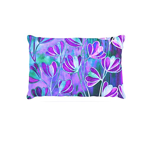 30 by 40\ Kess InHouse Ebi Emporium EfflorescenceLavender bluee  Teal Purple Fleece Dog Bed, 30 by 40