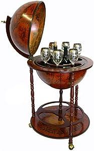 VIZIONSTAR Sixteenth-Century Italian Replica Old World Globe Bar