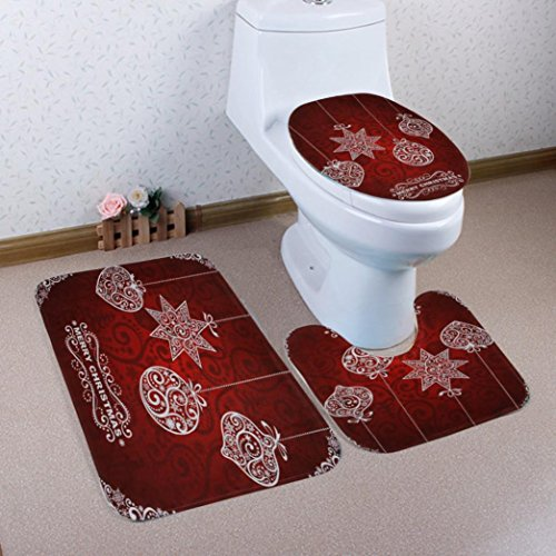 Gillberry Christmas 3pcs/set Bathroom Non-Slip Pedestal Rug + Lid Toilet Cover + Bath Mat 9 Pattern (Replacement Urn Lid)