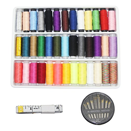 (YiwerDer Sewing Thread Assortment Spools 39 Color 200 Yards Each, with Sewing Needles and Soft Measuring Tape, Polyester Threads Kits for Hand and Machine Sewing)