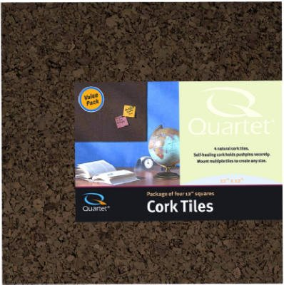 Quartet Cork Tiles, Dark, 12 Inch x 12 Inch, Frameless, 4 Pack (15050Q)