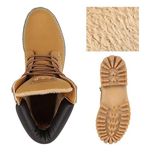 Stiefelparadies Unisex Gefüttert Damen Herren Worker Boots Outdoor Schuhe Profil Sohle Flandell Hellbraun Camargo