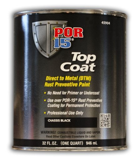 POR-15 (45904) Top Coat Chassis Black - 1 Quart - 6 Pack by POR-15