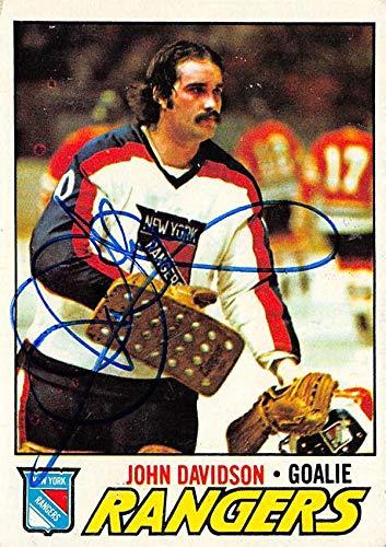 - John Davidson autographed Hockey Card (New York Rangers, 67) 1977 Topps #28 - NHL Autographed Hockey Cards