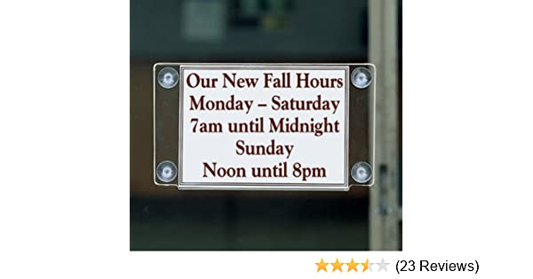 Displays2go Window Sign Holder with Suction Cup Mount GWM8555 Double Sided Set of 2 8.5 x 5.5