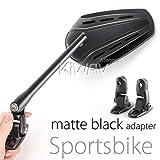 KiWAV Magazi Zipper motorcycle fairing mirrors aluminum black for Sportbike w/ matte black adapter