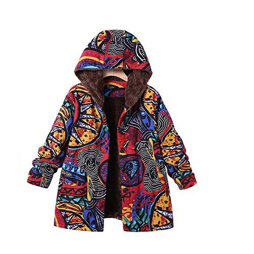 FTXJ Womens Winter Warm Outwear Floral Print Zip Hooded Pockets Vintage Print Oversize Jacket Top ()