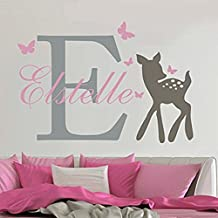 Lovely Custom-made Wall Decal Butterflies Deer Personalized Baby Name Wall Sticker Girls Nursery Room Decal Home Decor-You select name and color