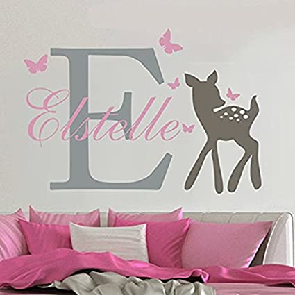 Lovely Custom-made Wall Decal Butterflies Deer Personalized Baby Name Wall Sticker Girls Nursery Room & Amazon.com: Lovely Custom-made Wall Decal Butterflies Deer ...