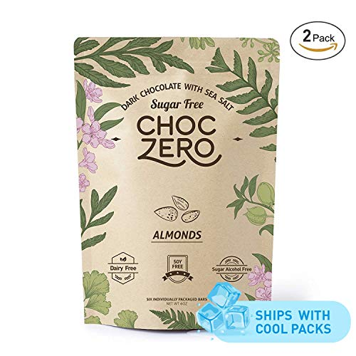 Zero Fat - ChocZero's Keto Bark, Dark Chocolate Almonds with Sea Salt. Sugar Free, Low Carb. No Sugar Alcohols, No Artificial Sweeteners, All Natural, Non-GMO (2 bags, 6 servings/each)