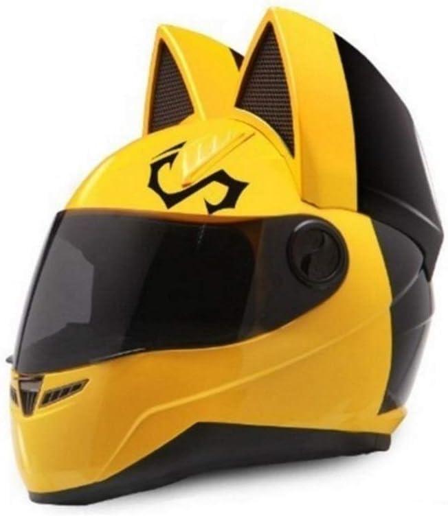 オートバイのヘルメット猫の耳夏フルフェイスレーシングオートバイの人格は四季男性と女性のランニングヘルメットをカバー 保護 (Color : 黄, Size : M)