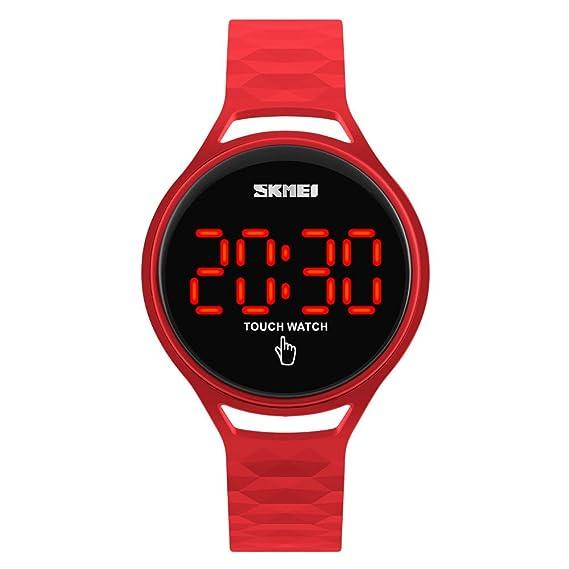 de las mujeres llevó el reloj reloj digital resistente al agua deporte de la manera para las niñas reloj pulsera de reloj de goma de silicona roja: ...