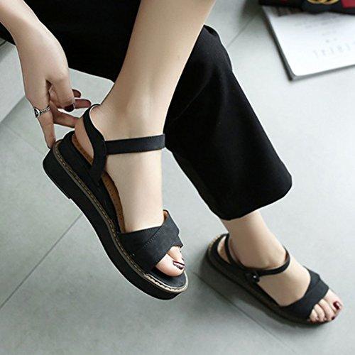 Easemax Femmes Confort À Boucle Ouverte Bout Ouvert Mi-talon Wedge Plate-forme Cheville Sandales Noir