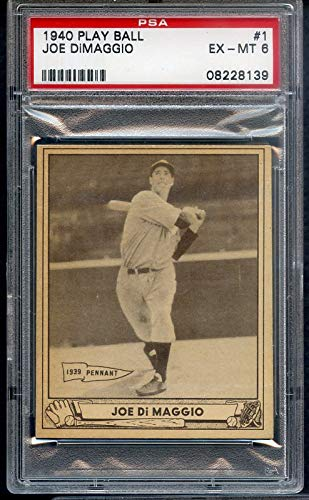 1940 Play Ball #1 Joe DiMaggio Yankees PSA 6 EX-MT 357080 Kit Young Cards