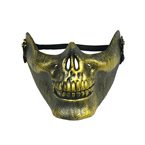 Skull Skeleton Half Face Protect Airsoft Mask For Halloween Decoration Gold