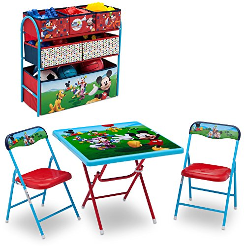 Disney Mickey Mouse Playroom Solution Set (Table & Chair Set + Metal Multi-Bin Toy Organizer) (Mickey Set Bedroom)