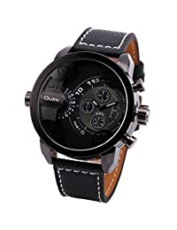 OULM Men's Casual Military Quartz Wrist Watch Leather Strap Oversize Round Dial Dual Time Zone Sub Dial Unique Design + Gift Box