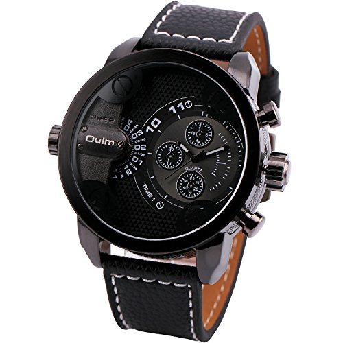 Oulm Mens Casual Military Quartz Wrist Watch Leather Strap Oversize Round Dial Dual Time Zone Sub Dial Unique Design   Gift Box