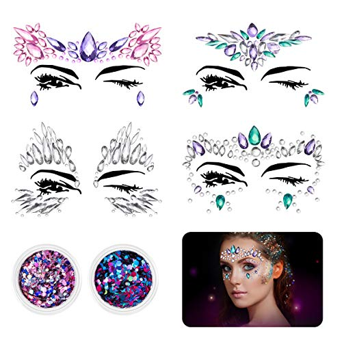 ETEREAUTY Face Jewels, 4 Sets Women Mermaid Face Gems & 2 Face Glitter for Music Rave Festival, Rhinestone Face Body Temporary -