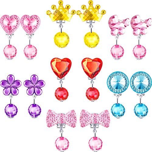 Hicarer 7 Pairs Crystal Clip on Earrings Girls Princess Jewelry Earring and 7 Pairs Earrings Pads in Pink Box (Style 4)