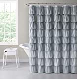 Pink and Grey Shower Curtain VCNY Home Heavy Duty Luxurious Gypsy Ruffled Ombre Fabric Shower Curtain - Assorted Colors (Grey)