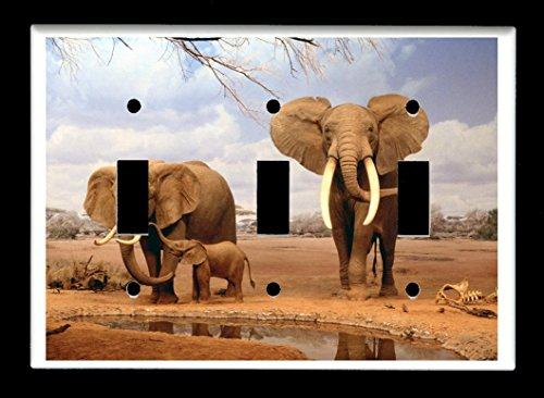 Triple Toggle  Light Switch Plate Cover - African Wildlife S