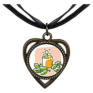 Chicforest Bronze Retro Style Warm Lighting Candle Heart Shaped Pendant