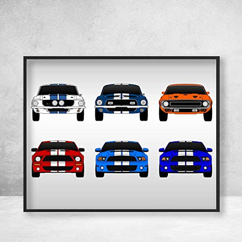 (Shelby Mustang GT500 Generations Poster Print Wall Art of the History and Evolution of the Ford Shelby GT500 (multi color))