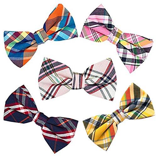 OUMUS 5 PACKS Elegant Adjustable Pre-tied Bow Ties or 1 Bowtie & Handkerchief Set Gift For Men Boys]()