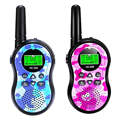 SeaMeng Walkie Talkies for Kids Boys Girls 2 Way Radio 22 Channels, Best Gifts & Top Toys for Boy Girl Age 2 3 4 5 6 7 8 9 Year Old for Outdoor Adventure Camping Game - Pink & Blue (Blue&Pink)