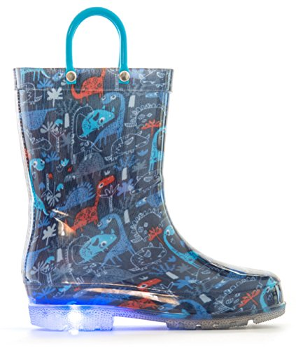 MOFEVER Toddler Boys Kids Light up Rain Boots Waterproof Shoes Blue Dinosaur Print Lightweight Cute Lovely Funny with Easy-on Handles (Size 7,Blue) ()
