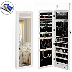 HollyHOME Jewelry Cabinet Lockable Wall Door Mounted Jewelry Armoire with LED Light Mirror Storage Organizer ,White